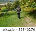 緑溢れるのどかな場所を歩く三十代男性(後ろ姿) 82840270