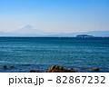湘南の葉山から見る富士山の景色と江の島の景色 82867232