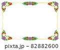 紫と白い花の綺麗な飾りリボンの装飾フレーム白色背景 82882600