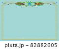 青い花と赤い実のガーランドブーケ ボーダーフレーム青色背景 82882605