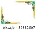 青い花と赤い実のガーランドブーケ コーナーフレーム背景 82882607
