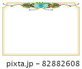 青い花と赤い実のガーランドブーケ ボーダーフレーム白色背景 82882608