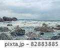【新潟県日本海】イラストタッチで表現した冬の日本海 82883885