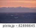 北海道八雲町落部でホタテ漁をする漁船の夜明けの風景を撮影 82898645