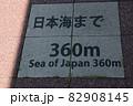 糸魚川駅、駅前ロータリーから続くヒスイロード ここから日本海まで360m 82908145