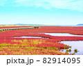 赤く色づいたサンゴ草 82914095