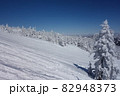 長野県下高井郡山ノ内町にあると冬期横手山渋峠スキー場の山頂の青空と樹氷とトラック跡の景色 82948373