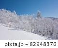 長野県下高井郡山ノ内町にあると冬期横手山渋峠スキー場の青空と樹氷の景色 82948376
