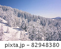 長野県下高井郡山ノ内町にあると冬期横手山渋峠スキー場の青空と樹氷の景色 82948380