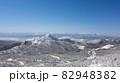長野県下高井郡山ノ内町にあると冬期横手山渋峠スキー場から観える青空と樹氷と笠ヶ岳と日本アルプスの景色 82948382