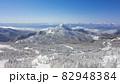 長野県下高井郡山ノ内町にあると冬期横手山渋峠スキー場から観える青空と樹氷と笠ヶ岳と日本アルプスの景色 82948384