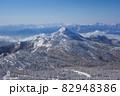 長野県下高井郡山ノ内町にあると冬期横手山渋峠スキー場から観える青空と樹氷と笠ヶ岳と日本アルプスの景色 82948386