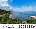 蟹田港から津軽半島と下北半島の間をとおして津軽海峡、北海道が見えます。 82956389