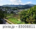 厚木市 七沢温泉郷の町並みと大山などの山並み(七沢森林公園からの眺望) 83008811
