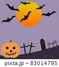 ハロウィンかぼちゃと月、コウモリ、 83014795