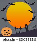ハロウィンかぼちゃと月、コウモリ、墓 83036838