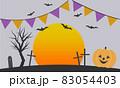 ハロウィンかぼちゃと月、コウモリ、墓 83054403