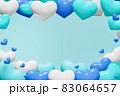 青系青系ハートの背景(男性用プレゼントのイメージ)ハートのフレーム(男性用プレゼントのイメージ) 83064657