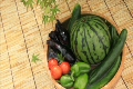 紅葉の下のたらいで冷やすスイカと野菜たち 2227331