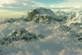 (1054) Snow Mountains Clouds Winter Wilderness Climbing Peaks 3073748