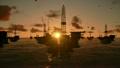 Oil rigs in ocean, timelapse sunset 9763661