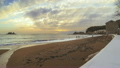 Video clip HD Timelaps golden sunny empty sandy beach in Montenegro, Petrovac. Sunset and waves. 9820218