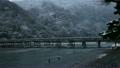 2月冬 雪の渡月橋  京都嵐山の冬景色 9952800