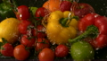 Water raining on selection of fresh fruit and vegetables 11236551
