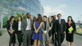 Portrait of cheerful diverse business team with blue sky and white clouds 11410044