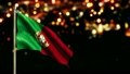 Portugal National Flag City Light Night Bokeh Loop Animation  12554700
