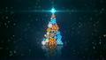 blue orange christmas tree shape of glowing snowflakes loop 12931949