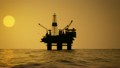 02168 Silhouette Of An Oil Rig Drilling Platform At Sunset 14070360