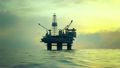 02169 Silhouette Of An Oil Rig Drilling Platform At Sunset 14070361