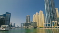 Dubai Marina skyscrapers. View from embankment timelapse hyperlapse 15117381
