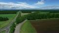 十勝牧場 新緑の白樺並木を空撮 15974315