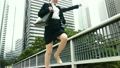 Hurry running business woman watch watch Jump 2 scene high speed shooting slow motion video 16418536