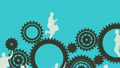 Business people running and turning cogs 17575299