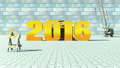 2016 replaces 2015 on construction background 18490553