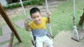 Asian baby boy playing on a swing and having fun 18718250