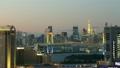 레인보우 브릿지와 도쿄 도심 황혼에서 야경에 시간 경과 미세 속도 촬영 19243282
