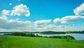 Summer landscape with a lake, panoramic time-lapse 19260893