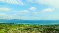 沖縄伊江島タッチュー頂上 海と家並み俯瞰 タイムラプス 19933876