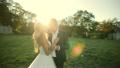 Wedding bride and groom walk 19971183