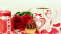 Chocolate cupcake and coffee with roses and gift 19974560