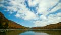 志賀高原琵琶池の紅葉と青空を流れる白い雲 20428020