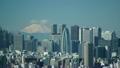 東京タイムラプス 絶景 富士山と新宿高層ビル街 快晴 山頂に吹き上げる雲 FIX 20589722