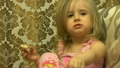 Funny Cute Little Girl Eat and Talck 21726010