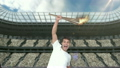 Montage of triumphing athlete holding Olympic torch over head 21852508