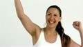 Happy woman cheering 21852518