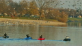 Rowers in kayaks paddling lake 22493426